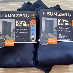 3 blackout navy curtains